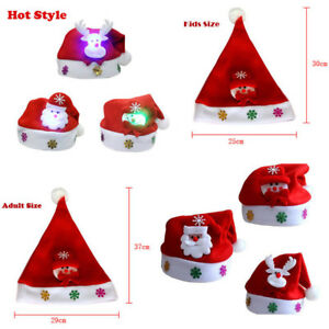 527ab0caacd1d Kids Adult LED Christmas Hat Santa Claus Reindeer Snowman Xmas Party ...