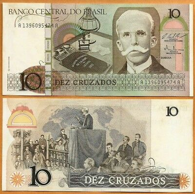 BRAZIL 100 Cruzados Banknote World Paper Money UNC Currency Pick p220a Bill Note