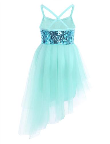 Girls Lyrical Ballet Dance Dress Latin Sequins Leotard Skirt Balltoom Dancewear