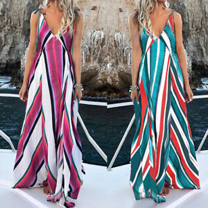 Womens-Bohemia-V-Neck-Striped-Sleeveless-Beach-Summer-Long-Maxi-Clubwear-Dress