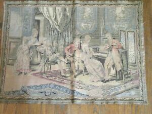 Antique-French-Tapestry-20-034-by-27-034-18th-Century-MUSIC-ROOM-Gathering-Audience