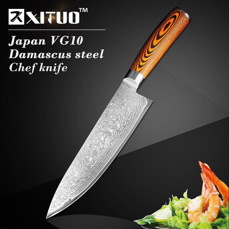 Japanese Chef Knife 76 Layers VG10 Damascus Steel braun Wood Handle 8  Inches XL