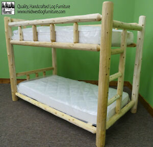 Premium Log Bunk Bed- Queen Over Queen $699 - Free Shipping