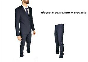Abito-Uomo-Completo-Blu-Giacca-Pantalone-Cravatta-Elegante-Classico-Tinta-Unita