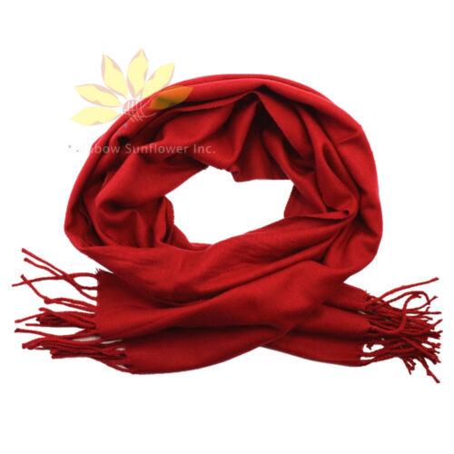 Men Women unisex 100/% CASHMERE Winter Warm PLAIN Scarf pure solid Wool Dark Red
