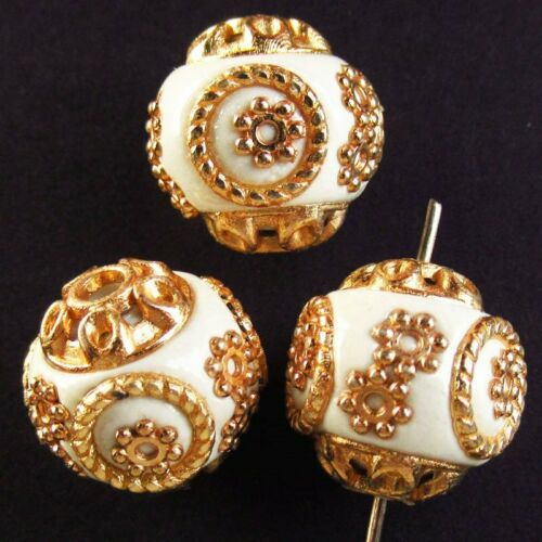 6Pcs 20.4g White Rare Earth /& Tibet silver Spacer Beads Ball Pendant Bead YN31