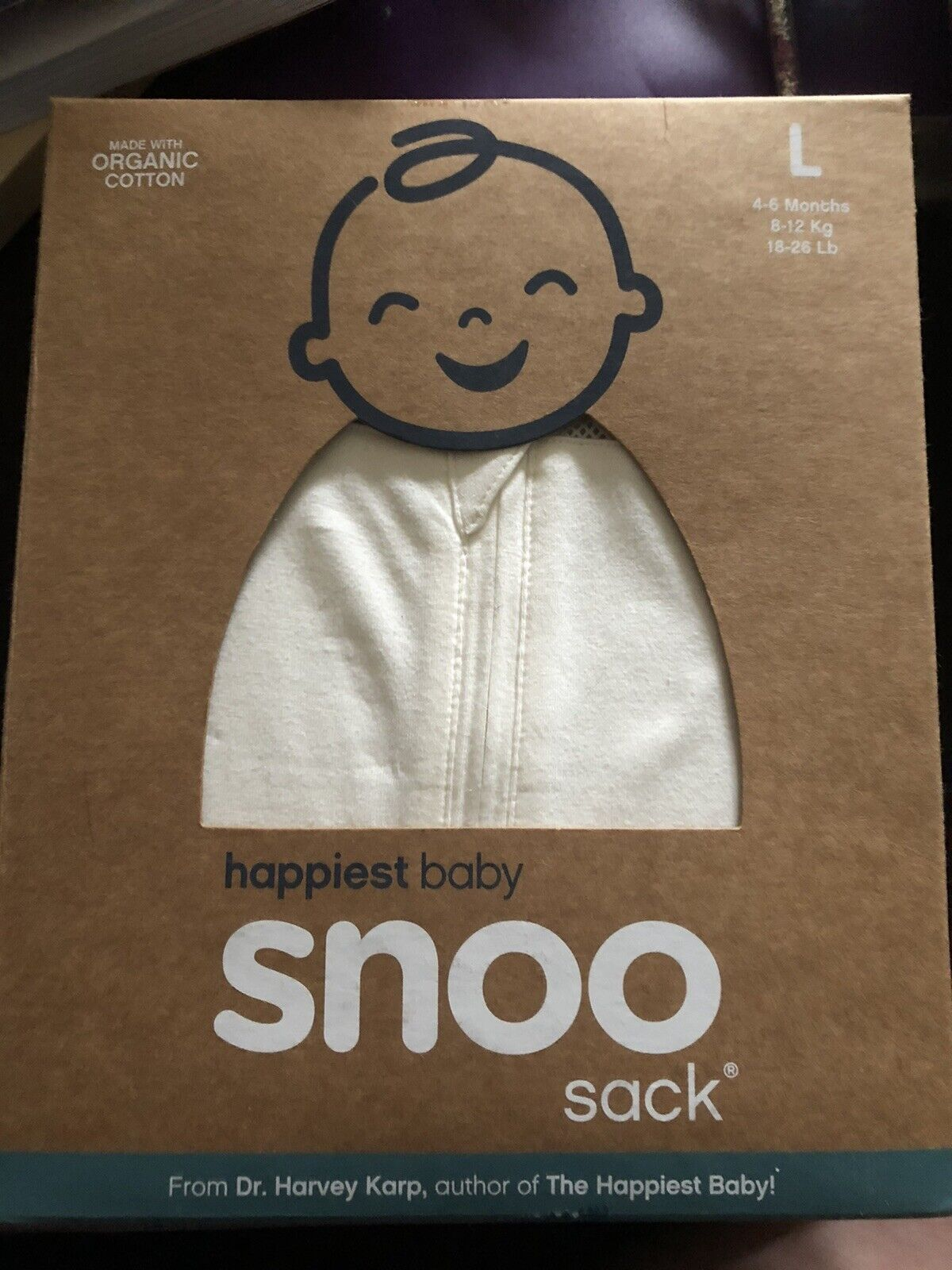 NEW - SNOO Sleep Sack Swaddle Organic Cotton Happiest Baby, size L 4-6 months