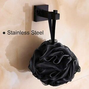Black Square Robe Hook Single Hanger Wall Door Hat Towel Holder Stainless Steel