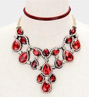 Red Gold Crystal Rhinestone Formal Necklace Jewelry Wedding Set Choker Bridal