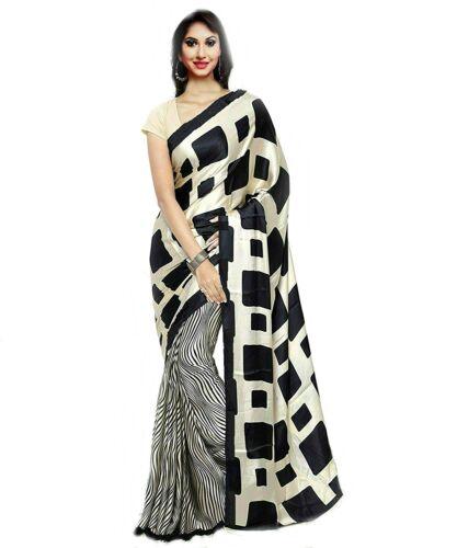 Black Printed Bollywood Fashion Saree Party Wear Indian Pakistani Sari