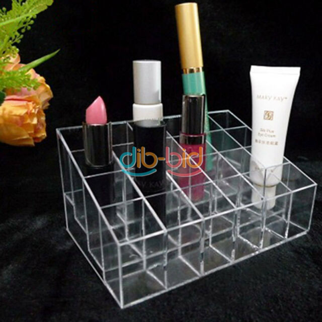 24 Trapezoid Clear Lipstick Makeup Display Stand Cosmetic Organizer Holder Case