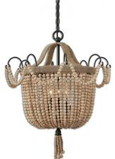 """Luxe 19"""" WOOD BEADED Pendant Chandelier ROPE Rustic Cottage Chic Unusual"""