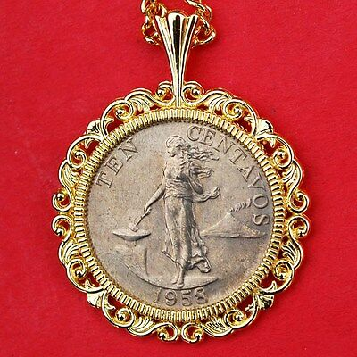 Philippines 1958 Ten Centavos BU Coin Gold Plated Necklace NEW