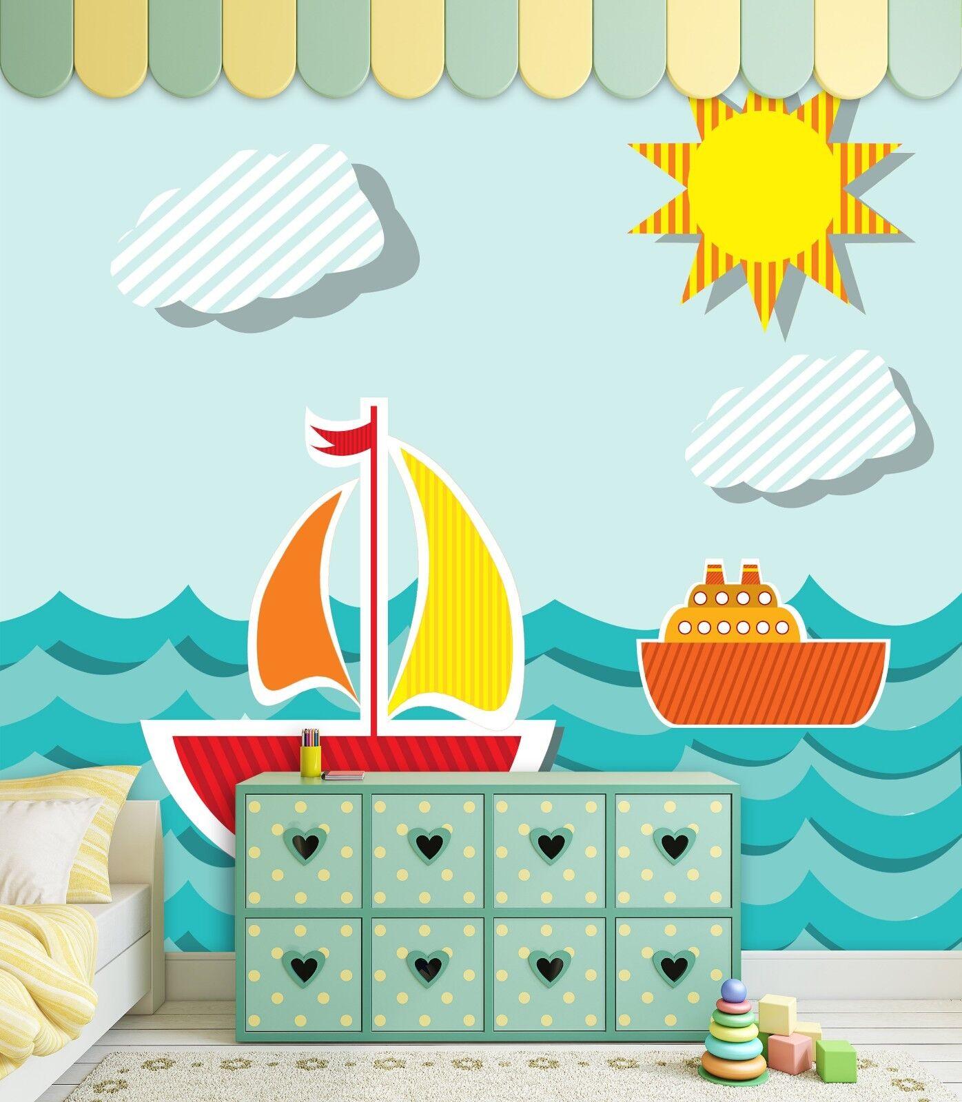 3D 3D 3D Ozean Segeln Karikatur 8799 Tapete Wandgemälde Tapeten Bild Familie DE Lemon | Ab dem neuesten Modell  | Neuer Stil  |  5ab423