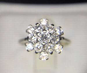 Estate-18k-White-Gold-Round-Brilliant-Diamond-Cluster-Cocktail-Ring-3-4-ct