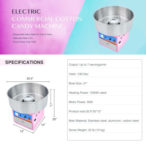 Electric Pink Cotton Candy Machine Candy Floss Maker Party Carnival Commercial