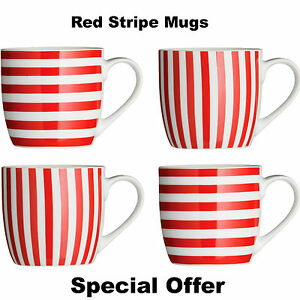 2102621744c New Red Stripe Mugs Set of 8 Coffee Tea Hot Chocolate Mugs Cups Red ...
