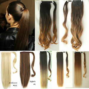 Amazing-Long-Soft-Dip-Dye-Ombre-Wrap-Around-Ponytail-Clip-in-Hair-Extensions