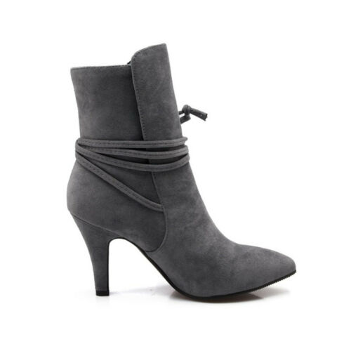Elegant Womens Pointed Toe Ankle Boots Slim High Heels Lace up Suede Shoes New
