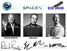 ELON MUSK JEFF BEZOS AND RICHARD BRANSON SIGNED AUTOGRAPH 8x10 RPT PHOTO SPACE