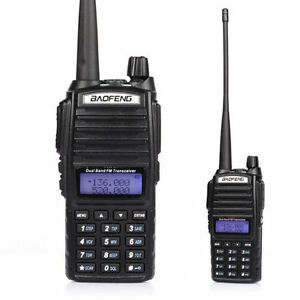 Baofeng-Black-UV-82-VHF-UHF-MHz-Dual-Band-Ham-Walkie-Talkies-Two-way-US-Adapter