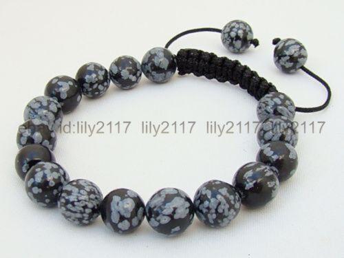 """Fashion Men/'s Bracelet 10 mm Flocon De Neige Noir Obsidienne Ronde Pierres Précieuses Perles 7.5/"""""""