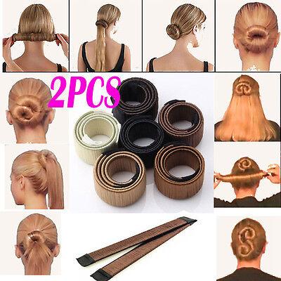 2PCS WOMEN TWIST HAIR BUN MAKER DONUT STYLING BRAID HOLDER ACCESSORY FAST PIN