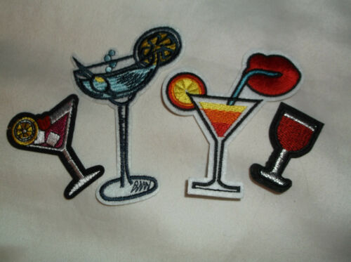 IRON ON PATCH SET cocktail daquiri martini red wine glass mixed drinks bartender