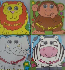 Jungle Animaux Early Lecture Livre En Carton Avec Wiggly Yeux Lion, Zèbre, Singe-afficher Le Titre D'origine