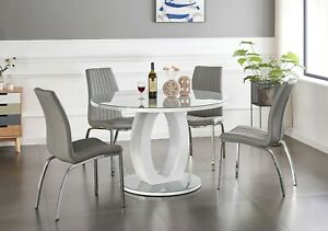 Giovani Round Grey White Gloss Glass Dining Table Set And 4 Leather Chairs Ebay