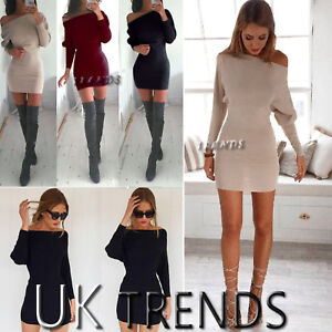 Womens-Bodycon-One-Shoulder-Dress-Ladies-Party-Evening-Mini-Dress-Size-6-14-UK