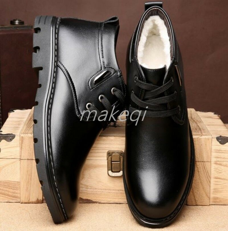 Mens Furry Lining Warm SHoes Cotton Winter High Top Dress shoes Casual Boots US