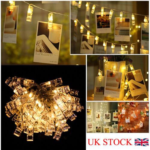 20 LED Clip Card Photo Holder String Fairy Lights USB Battery Valentine Wedding