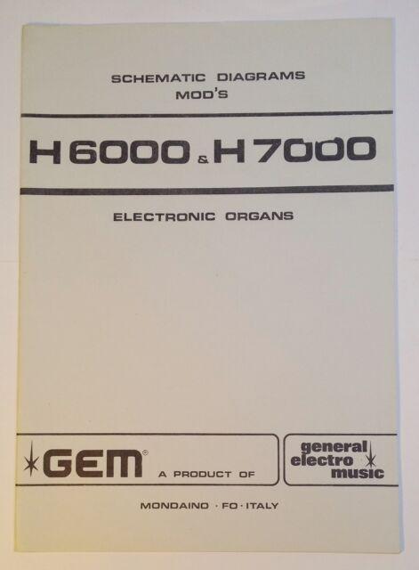 Original Gem H6000 & H7000 Electronic Organ Schematic Diagrams | eBay