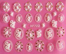 3D Nail Art Stickers Wrap Flower Glitter Butterfly Lace Crystal Rhinestone XF722
