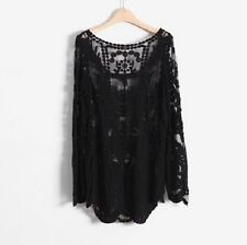 680a9f1a6dad9c item 3 Women Sexy Semi Sheer Long Sleeves Embroidery Floral Lace Crochet Top  Blouse -Women Sexy Semi Sheer Long Sleeves Embroidery Floral Lace Crochet  Top ...