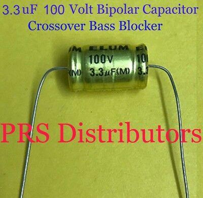 3.3 uF 100 Volt BIPOLAR CAPACITOR BASS BLOCKER SPEAKER TWEETER CROSSOVER 1 Pair