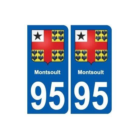95 Montsoult blason autocollant plaque stickers ville arrondis