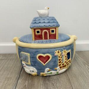 Noah-039-s-Ark-Ceramic-Cookie-Jar-Certified-International-Susan-Winget-Vintage-1993
