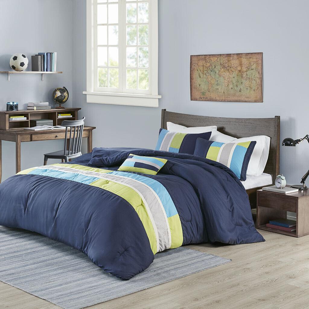 BEAUTIFUL ULTRA SOFT MODERN bleu TEAL AQUA NAVY gris vert STRIPE COMFORTER SET