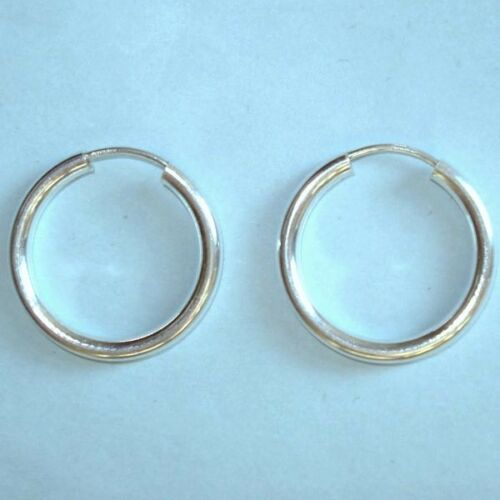 "Men/'s Womens Teen Endless Hoop NEW Small Earrings Pair STERLING SILVER 1//2/"" USA"