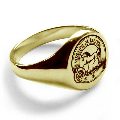 9ct Yellow Gold Laser Your Engraved Family Crest Signet Rings Round Fully Uk Hm