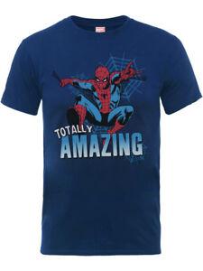 Amazing-Spiderman-Logo-Officiel-Marvel-Avengers-Bleu-Marine-Enfants-Garcons-T-Shirt