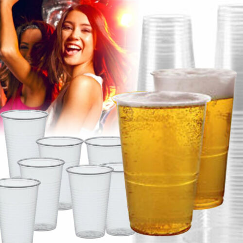 0.3L CLEAR PLASTIC DISPOSABLE CUP COLD WATER DRINK TUMBLER HALF PINT BEER GLASS