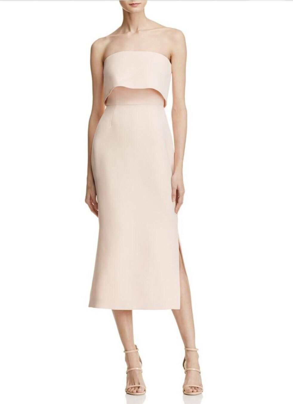 NWT C MEO COLLECTIVE Fresh Start Strapless Textured Midi Pencil Dress Size XS