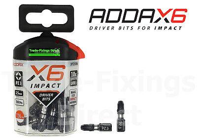 IMPACT DRIVER BITS SCREWDRIVER INSERT CROSS RECESS BIT 25mm X6 PZ1 BIT ADDAX