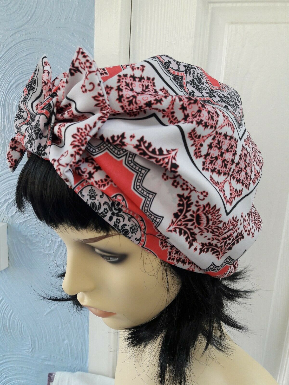 Vintage inspired 1920s 1930s ladies hat turban hair covered size M _L with bow