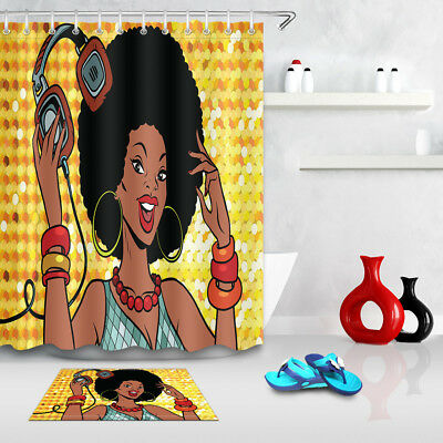 72x72/'/' Bathroom Waterproof Shower Curtain African American Pop Art Black Woman
