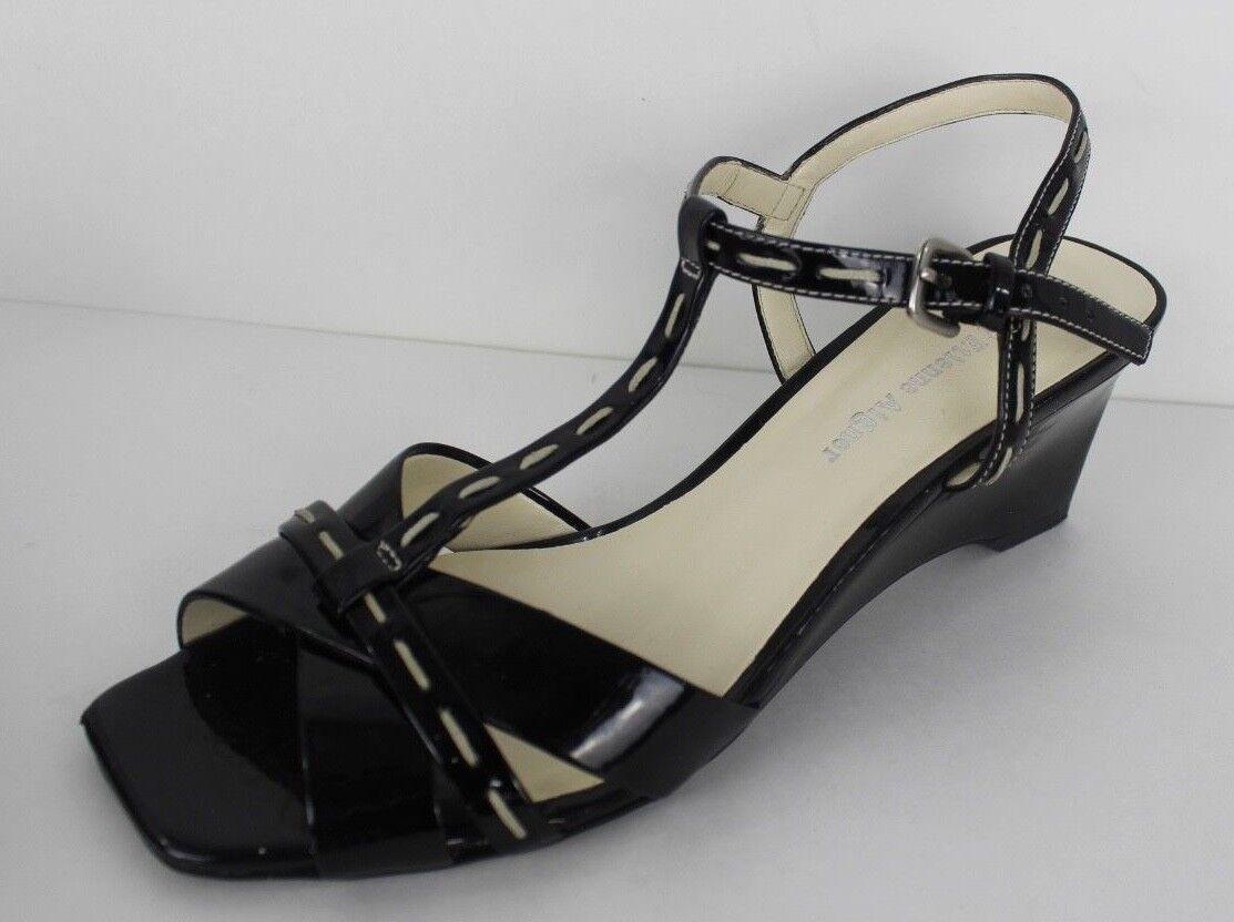 Etienne Aigner Mirage black patent leather t strap sandal size 7M