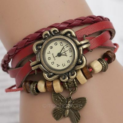 Retro Weave Around PU Leather Bracelet Watch Woman Quartz Wrist Watches 2014 HOT